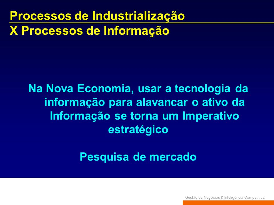 Processos de Industrialização X Processos de Informação