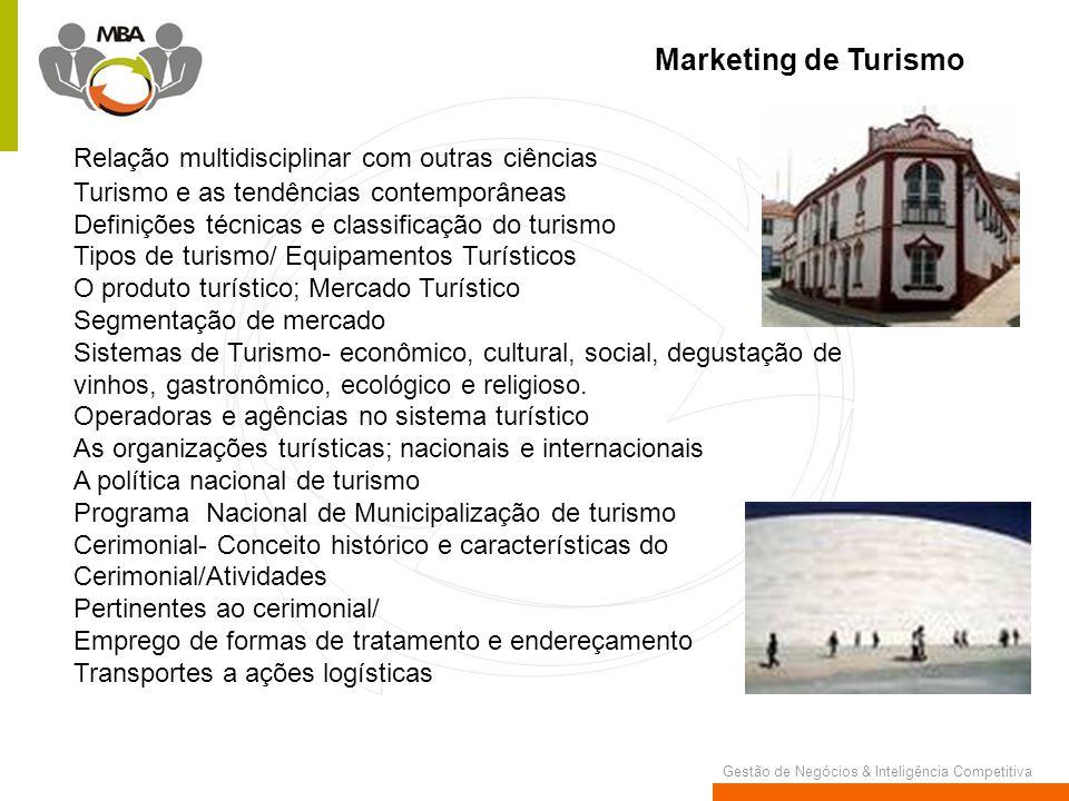 Marketing de Turismo Relação multidisciplinar com outras ciências