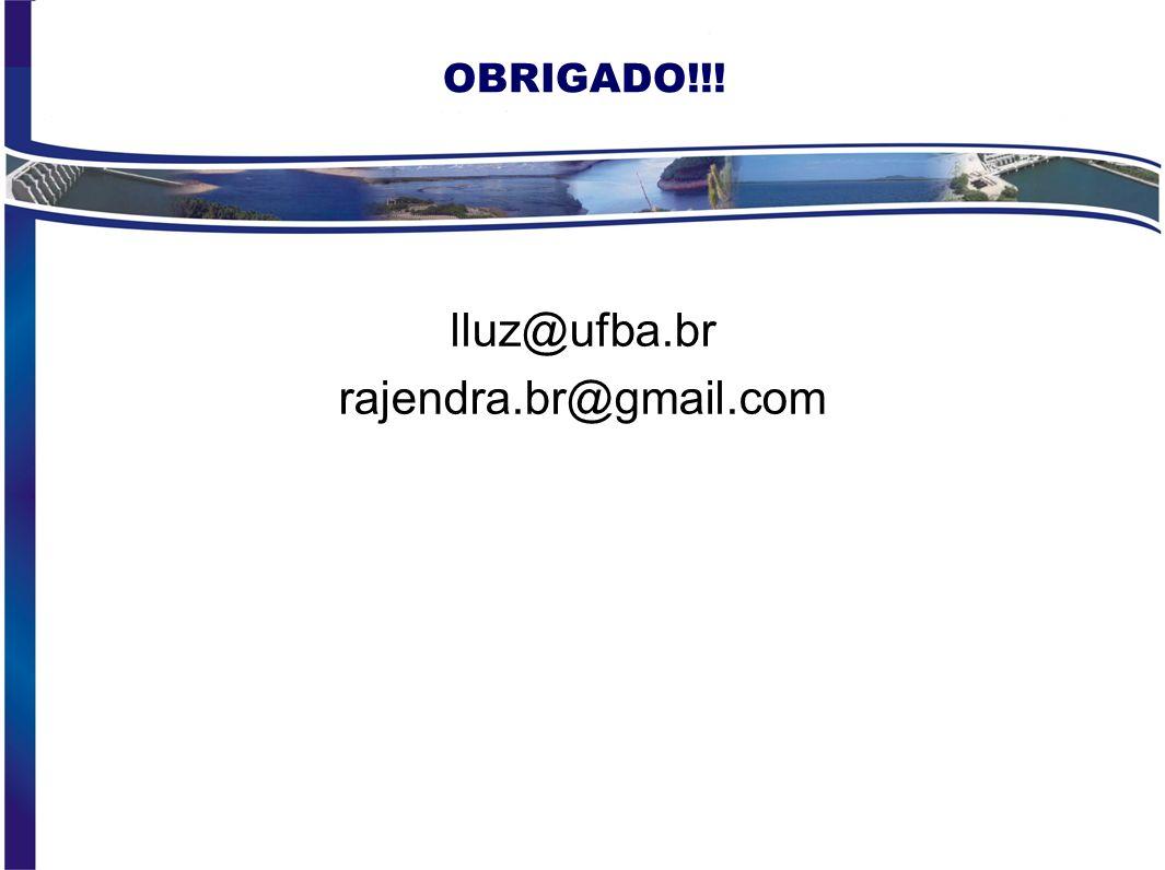 OBRIGADO!!! lluz@ufba.br rajendra.br@gmail.com