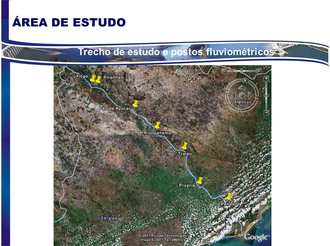 Trecho de estudo e postos fluviométricos