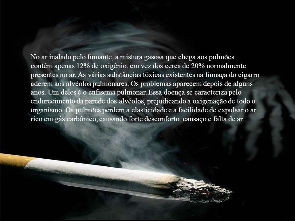 No ar inalado pelo fumante, a mistura gasosa que chega aos pulmões