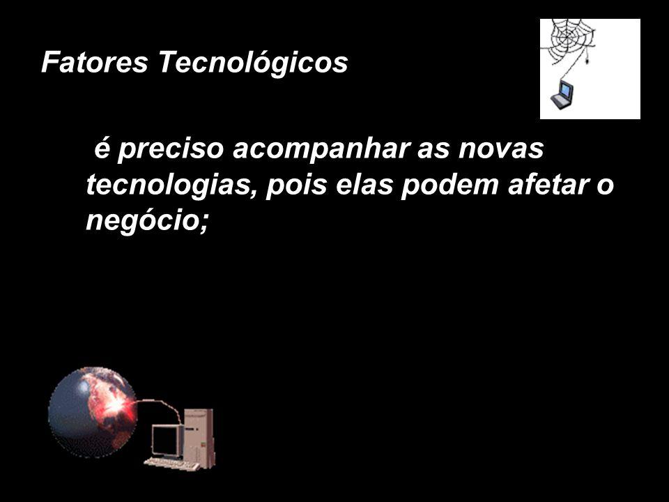 Fatores Tecnológicos é preciso acompanhar as novas tecnologias, pois elas podem afetar o negócio; X.