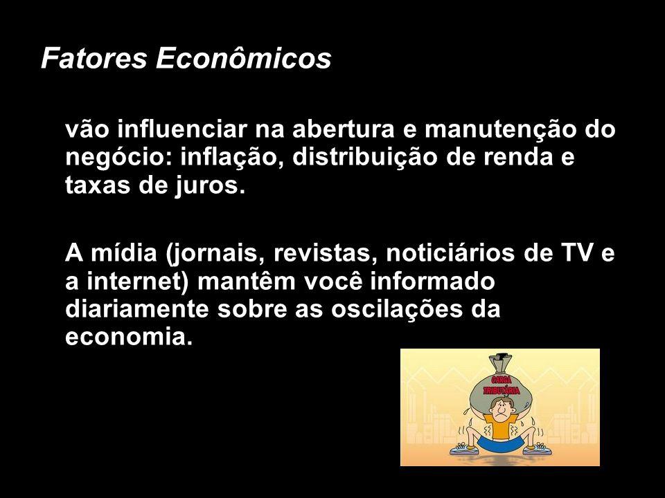 Fatores Econômicosvão influenciar na abertura e manutenção do negócio: inflação, distribuição de renda e taxas de juros.