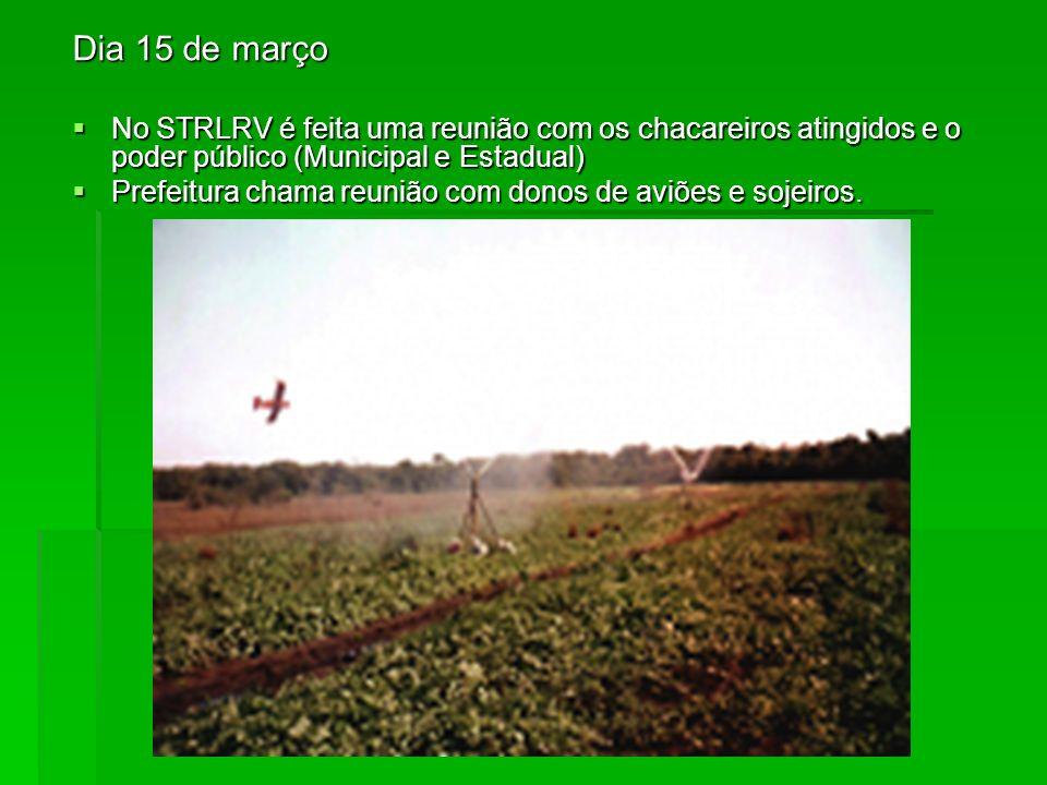 Dia 15 de marçoNo STRLRV é feita uma reunião com os chacareiros atingidos e o poder público (Municipal e Estadual)