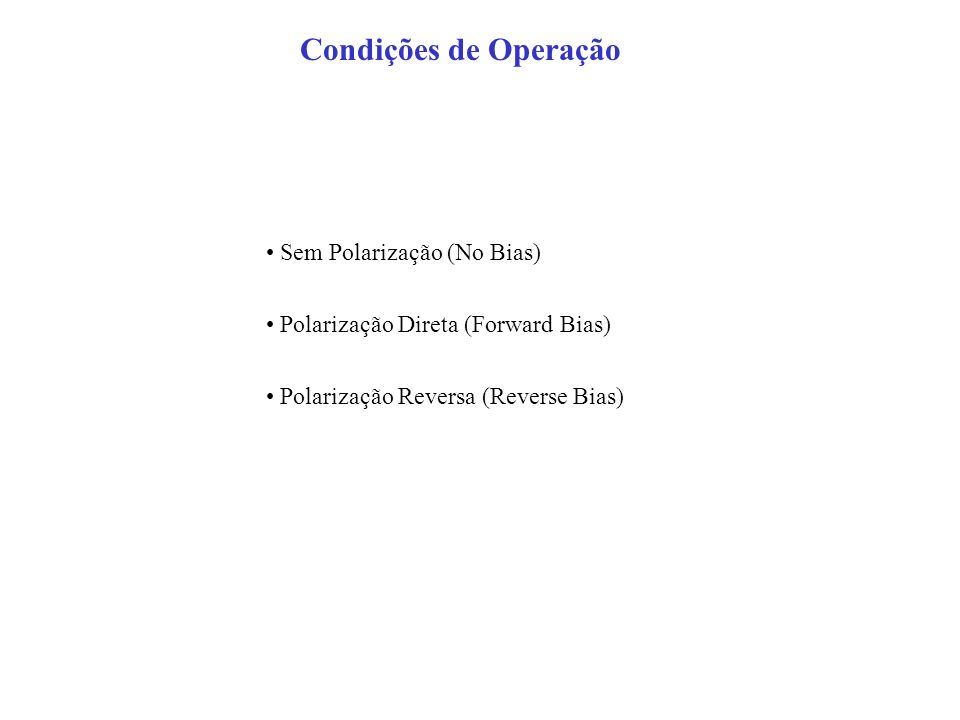 Condições de Operação • Sem Polarização (No Bias)