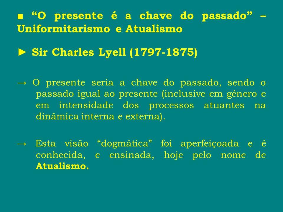 ■ O presente é a chave do passado – Uniformitarismo e Atualismo
