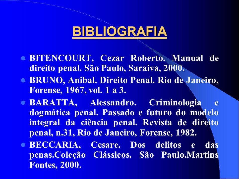 BIBLIOGRAFIA BITENCOURT, Cezar Roberto. Manual de direito penal. São Paulo, Saraiva, 2000.