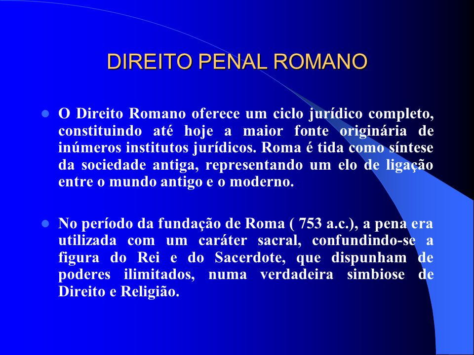 DIREITO PENAL ROMANO