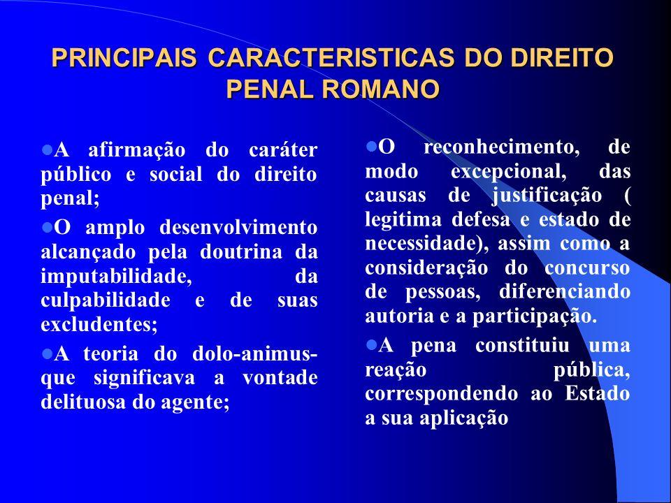 PRINCIPAIS CARACTERISTICAS DO DIREITO PENAL ROMANO