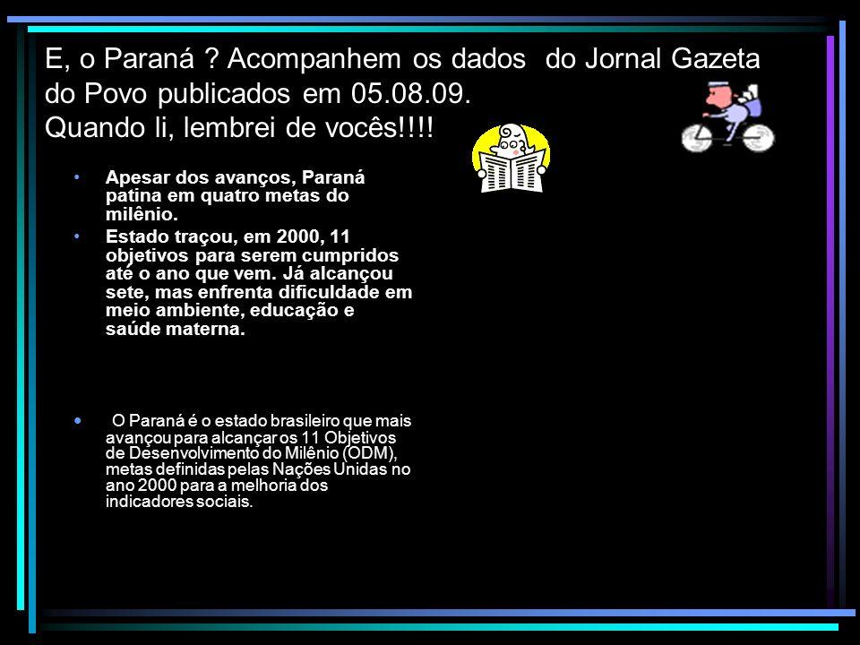 E, o Paraná Acompanhem os dados do Jornal Gazeta do Povo publicados em 05.08.09. Quando li, lembrei de vocês!!!!