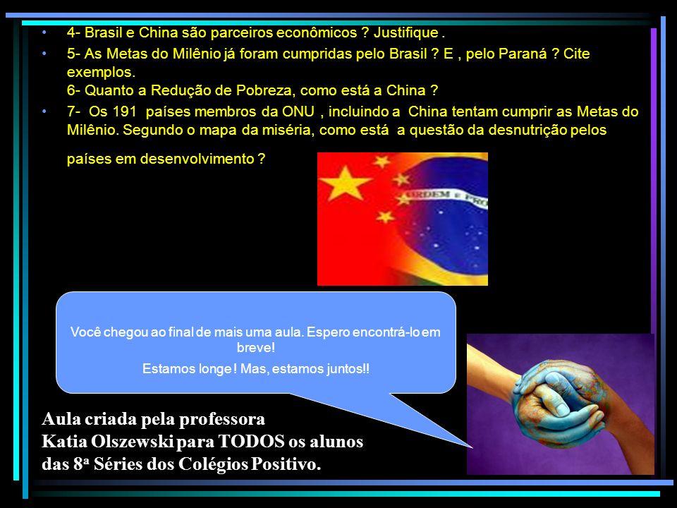 4- Brasil e China são parceiros econômicos Justifique .