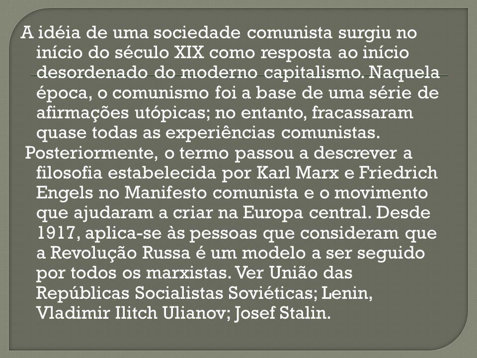 A idéia de uma sociedade comunista surgiu no início do século XIX como resposta ao início desordenado do moderno capitalismo.