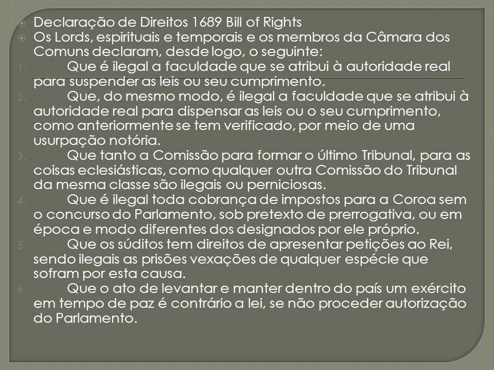 Declaração de Direitos 1689 Bill of Rights