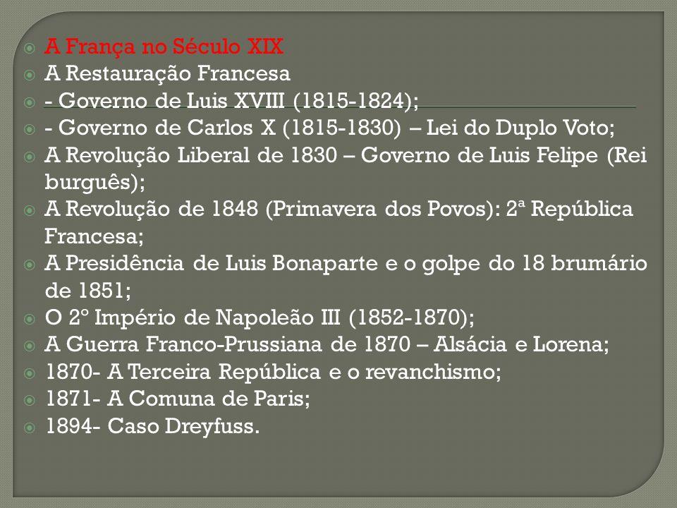 A França no Século XIX A Restauração Francesa. - Governo de Luis XVIII (1815-1824); - Governo de Carlos X (1815-1830) – Lei do Duplo Voto;