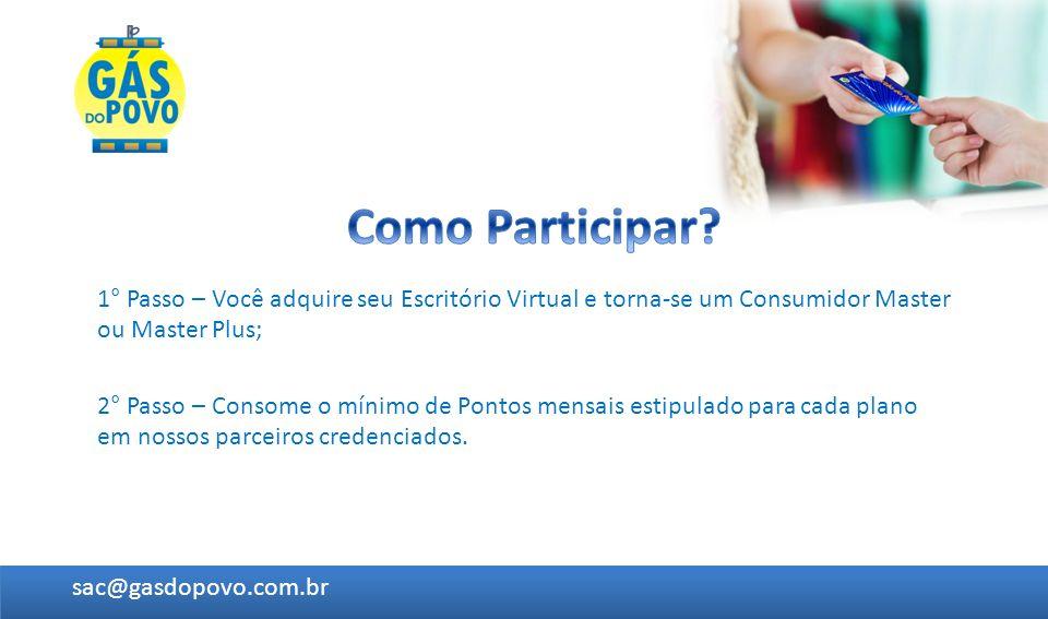 Como Participar 1° Passo – Você adquire seu Escritório Virtual e torna-se um Consumidor Master ou Master Plus;