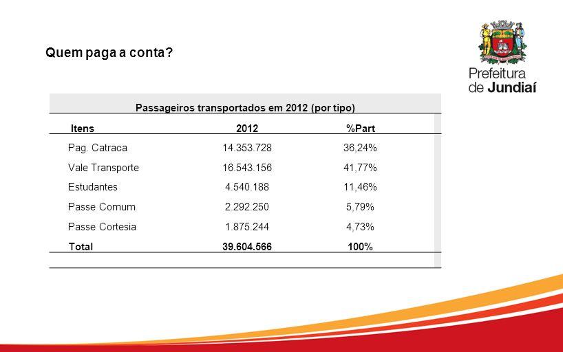 Passageiros transportados em 2012 (por tipo)