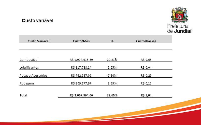 Custo variável Custo Variável Custo/Mês % Custo/Passag Combustível