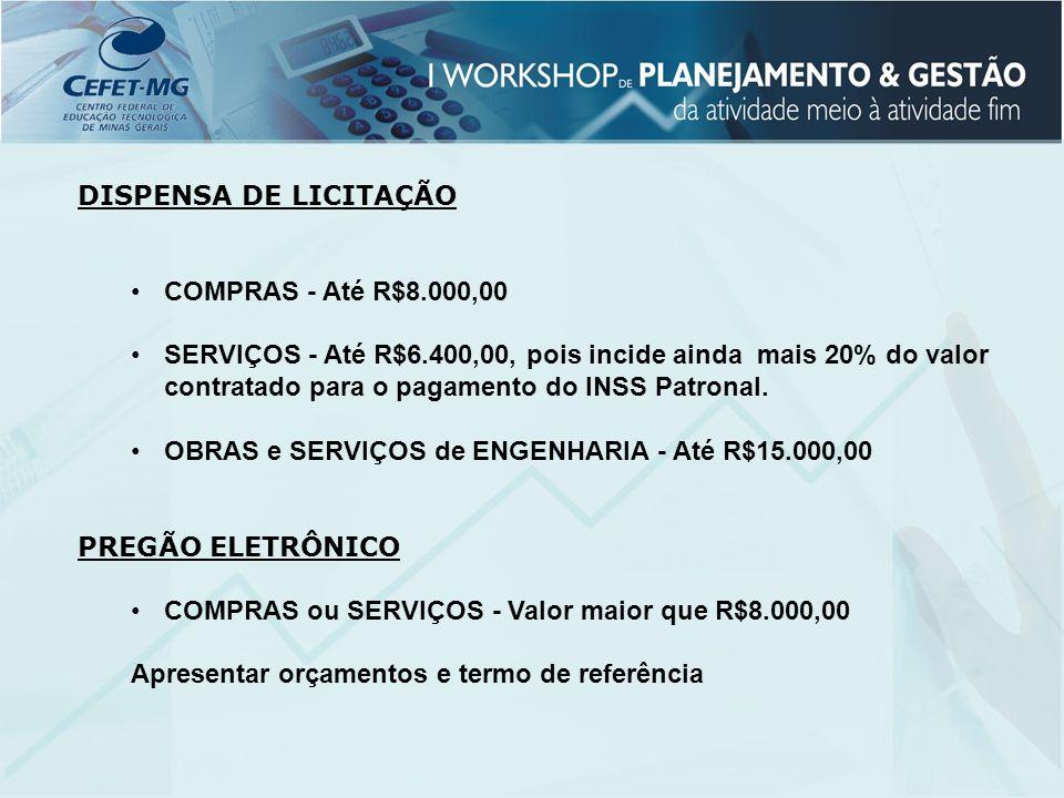 DISPENSA DE LICITAÇÃO COMPRAS - Até R$8.000,00.