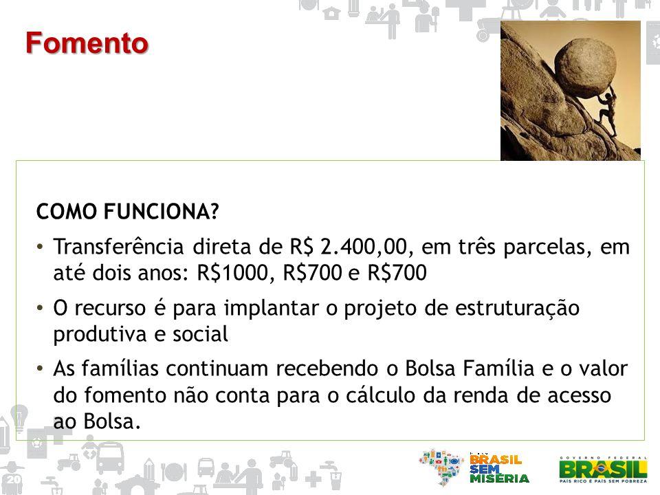 Fomento COMO FUNCIONA Transferência direta de R$ 2.400,00, em três parcelas, em até dois anos: R$1000, R$700 e R$700.