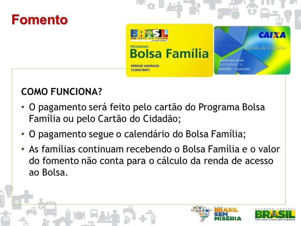Fomento COMO FUNCIONA O pagamento será feito pelo cartão do Programa Bolsa Família ou pelo Cartão do Cidadão;