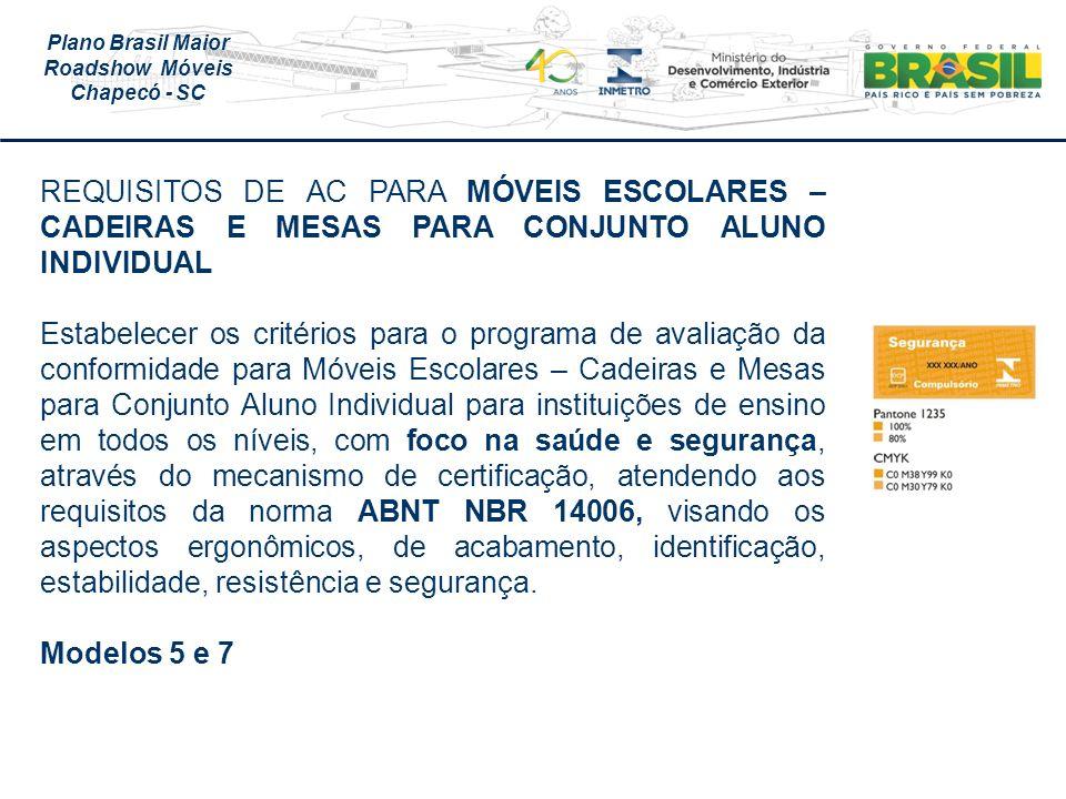 REQUISITOS DE AC PARA MÓVEIS ESCOLARES – CADEIRAS E MESAS PARA CONJUNTO ALUNO INDIVIDUAL
