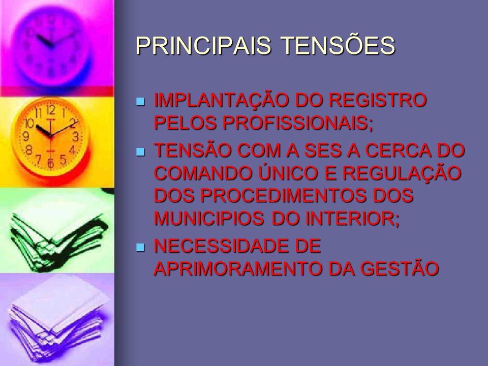 PRINCIPAIS TENSÕES IMPLANTAÇÃO DO REGISTRO PELOS PROFISSIONAIS;