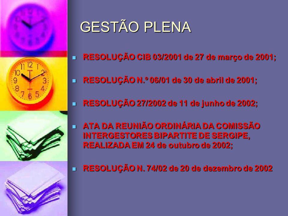 GESTÃO PLENA RESOLUÇÃO CIB 03/2001 de 27 de março de 2001;