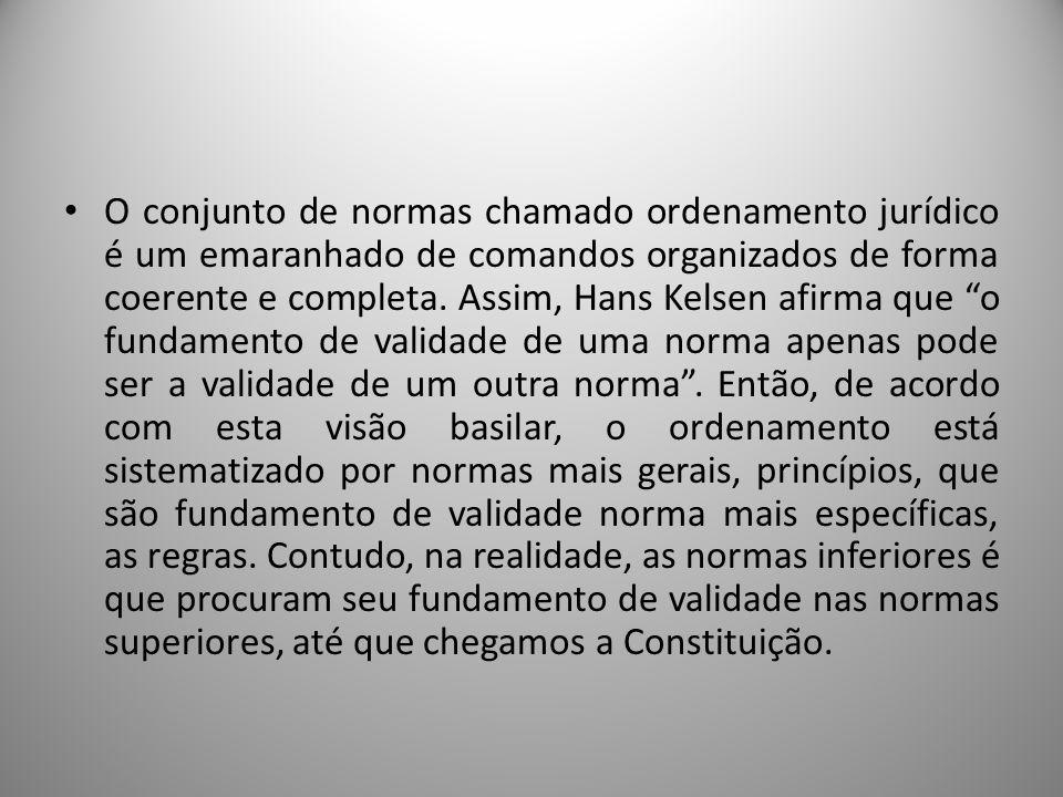 O conjunto de normas chamado ordenamento jurídico é um emaranhado de comandos organizados de forma coerente e completa.