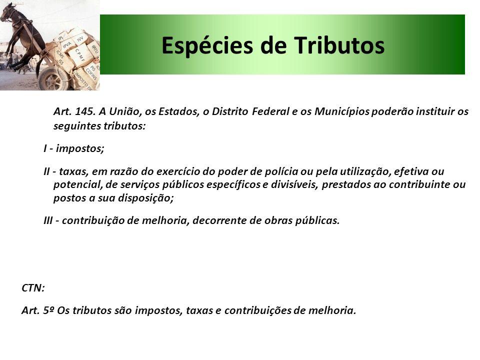 Espécies de Tributos Art. 145. A União, os Estados, o Distrito Federal e os Municípios poderão instituir os seguintes tributos: