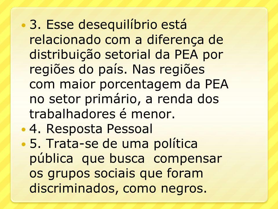 3. Esse desequilíbrio está relacionado com a diferença de distribuição setorial da PEA por regiões do país. Nas regiões com maior porcentagem da PEA no setor primário, a renda dos trabalhadores é menor.