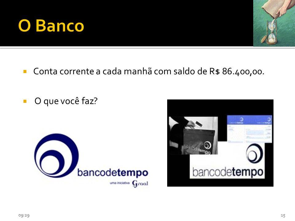 O Banco Conta corrente a cada manhã com saldo de R$ 86.400,00.