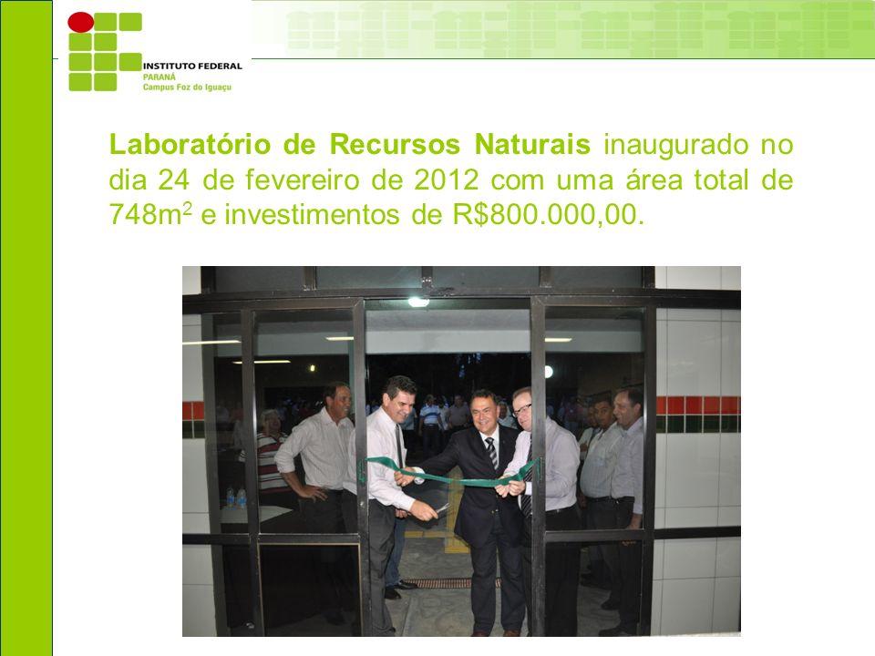 Laboratório de Recursos Naturais inaugurado no dia 24 de fevereiro de 2012 com uma área total de 748m2 e investimentos de R$800.000,00.