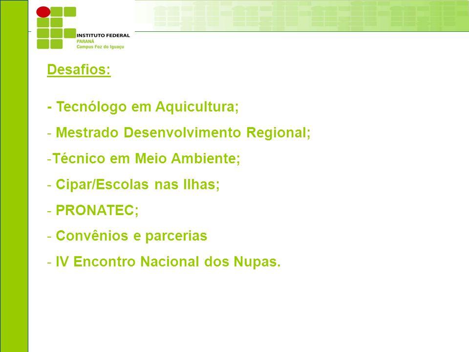 Desafios: - Tecnólogo em Aquicultura; Mestrado Desenvolvimento Regional; Técnico em Meio Ambiente;