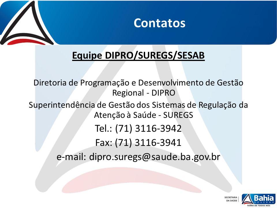 Equipe DIPRO/SUREGS/SESAB