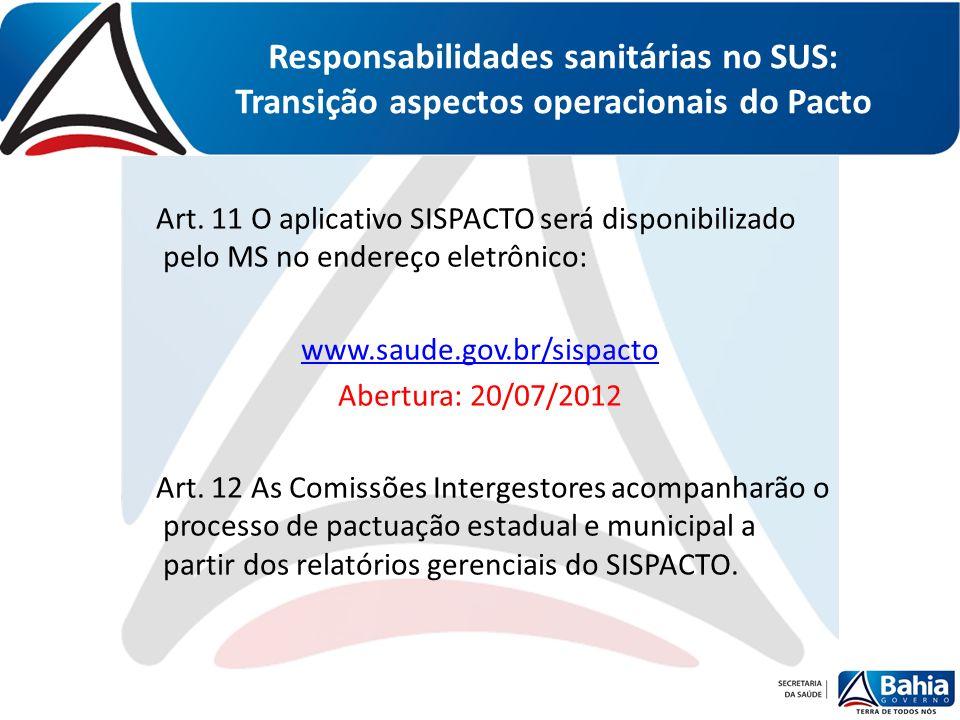 Responsabilidades sanitárias no SUS: Transição aspectos operacionais do Pacto