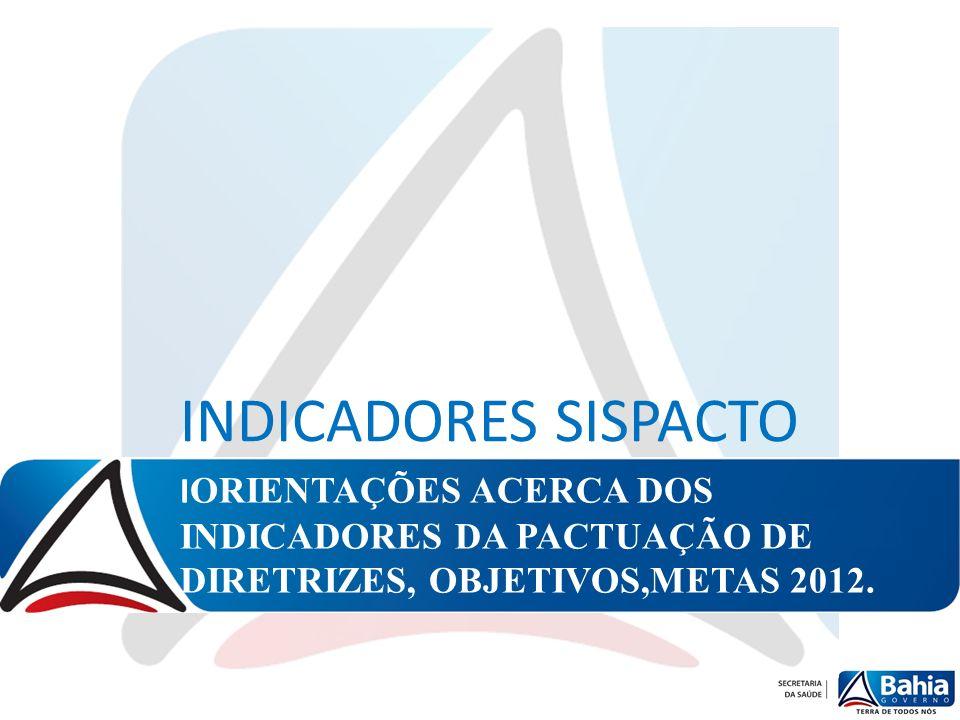INDICADORES SISPACTO IORIENTAÇÕES ACERCA DOS INDICADORES DA PACTUAÇÃO DE DIRETRIZES, OBJETIVOS,METAS 2012.