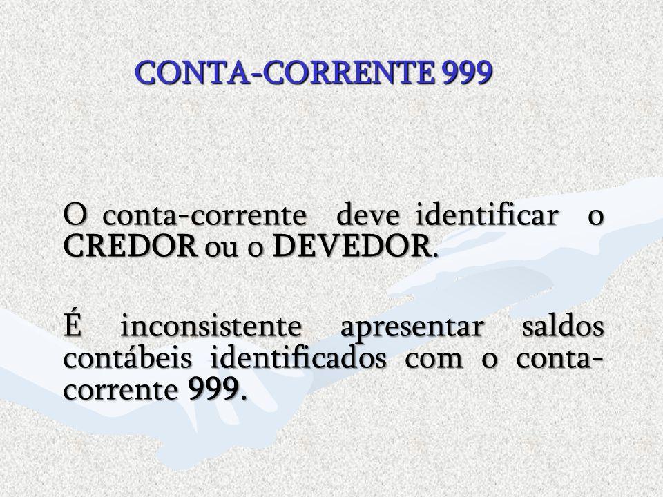 CONTA-CORRENTE 999 O conta-corrente deve identificar o CREDOR ou o DEVEDOR.
