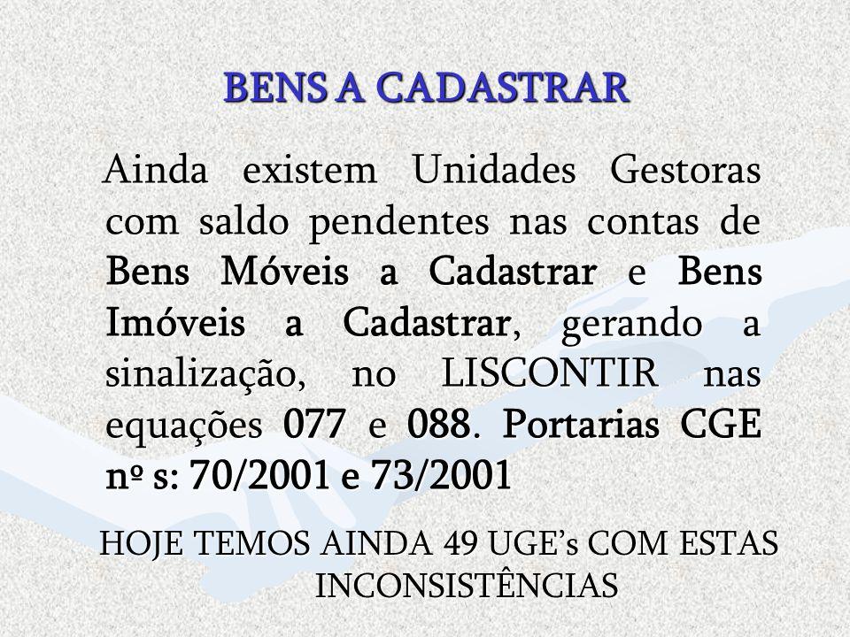 HOJE TEMOS AINDA 49 UGE's COM ESTAS INCONSISTÊNCIAS