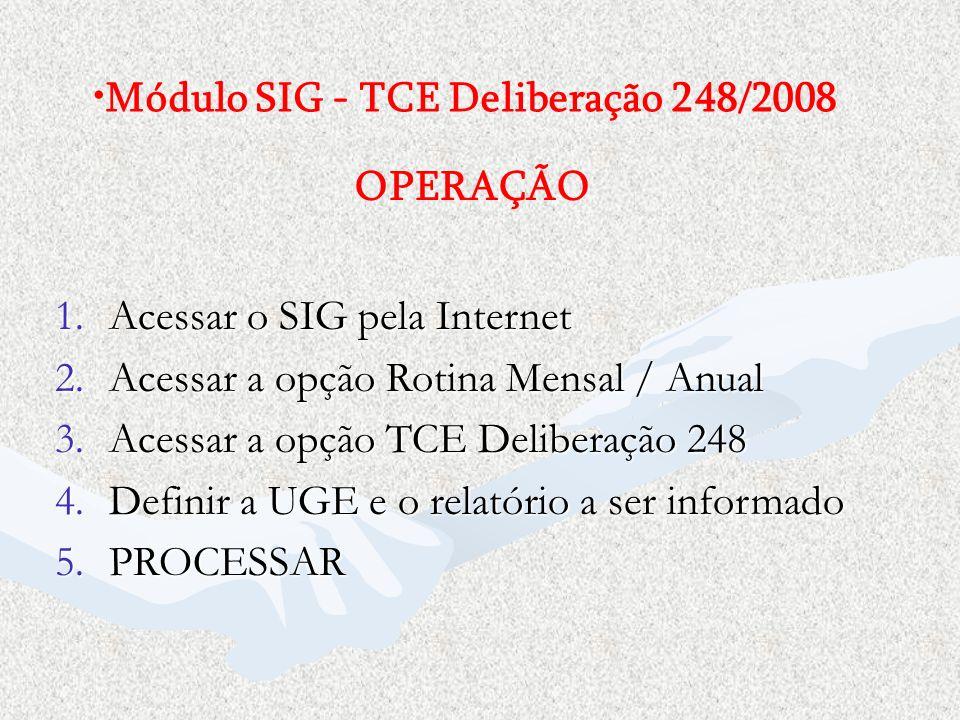 Módulo SIG - TCE Deliberação 248/2008