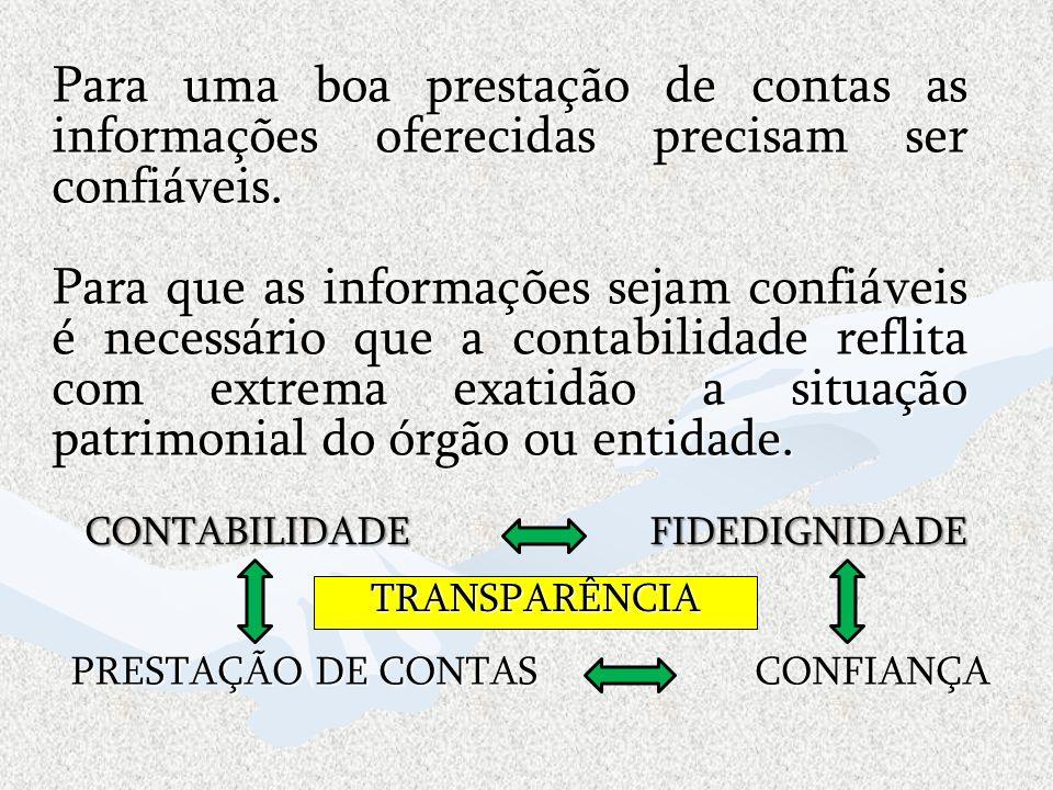 Para uma boa prestação de contas as informações oferecidas precisam ser confiáveis.