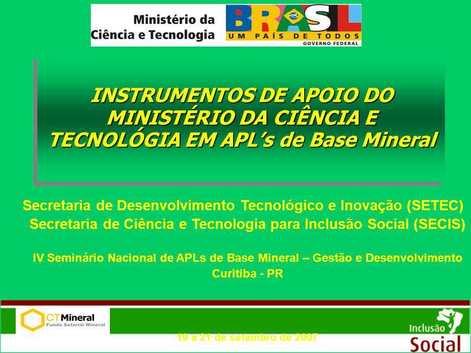 INSTRUMENTOS DE APOIO DO MINISTÉRIO DA CIÊNCIA E TECNOLÓGIA EM APL's de Base Mineral