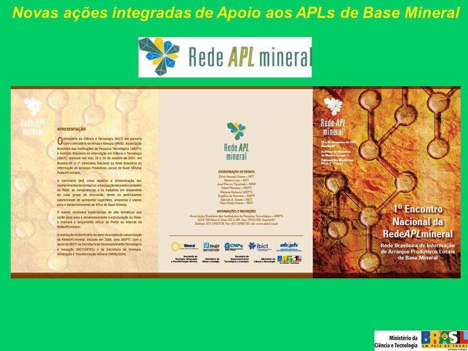 Novas ações integradas de Apoio aos APLs de Base Mineral