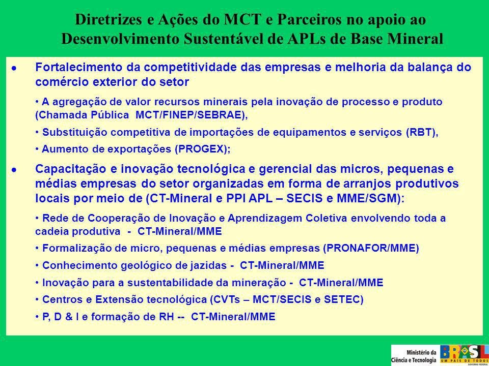 Diretrizes e Ações do MCT e Parceiros no apoio ao