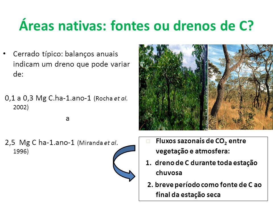 Áreas nativas: fontes ou drenos de C