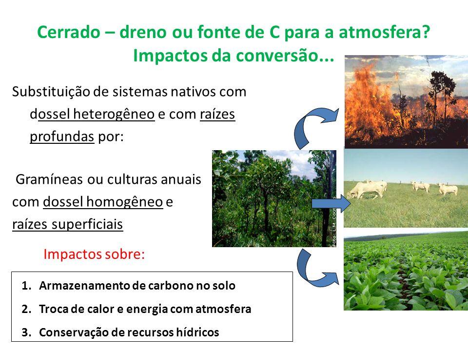 Cerrado – dreno ou fonte de C para a atmosfera Impactos da conversão...