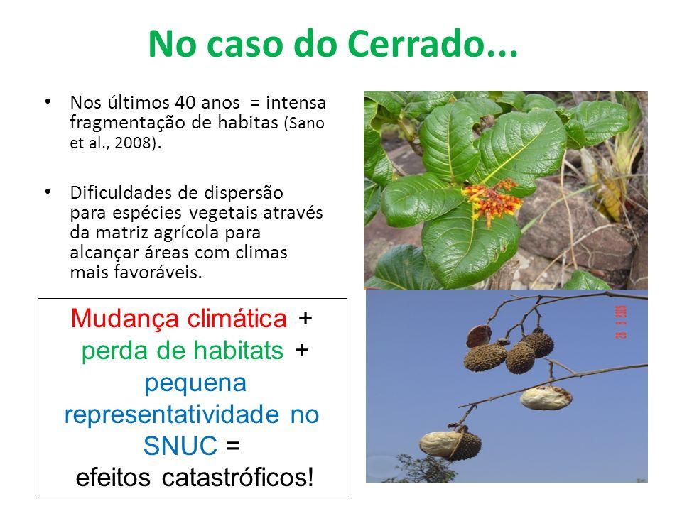 No caso do Cerrado... Mudança climática + perda de habitats +