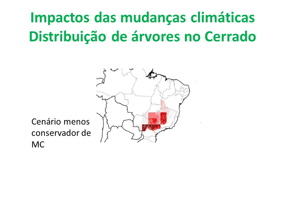 Impactos das mudanças climáticas Distribuição de árvores no Cerrado