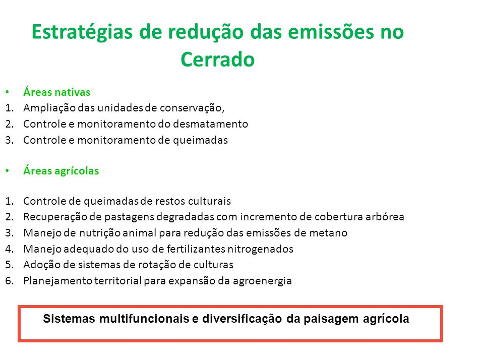 Estratégias de redução das emissões no Cerrado
