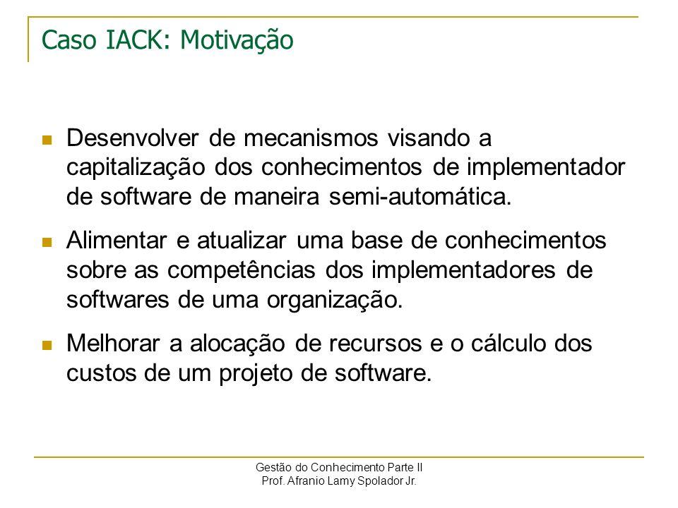 Caso IACK: Motivação Desenvolver de mecanismos visando a capitalização dos conhecimentos de implementador de software de maneira semi-automática.