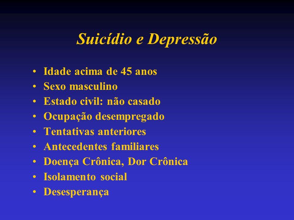 Suicídio e Depressão Idade acima de 45 anos Sexo masculino